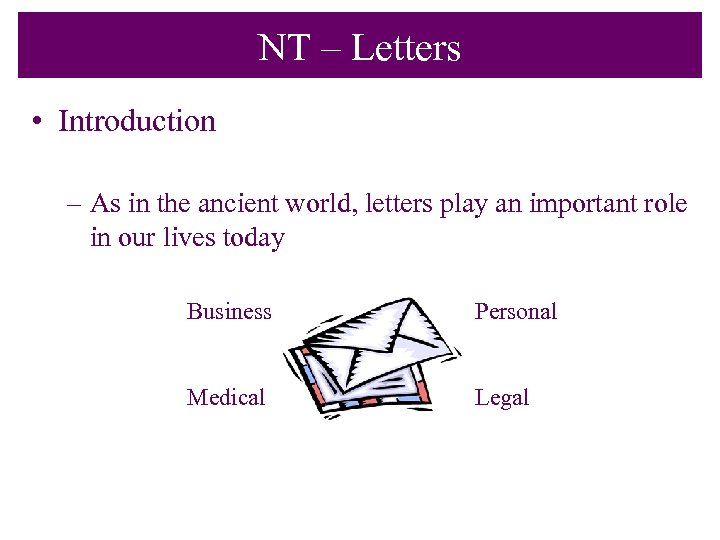NT – Letters • Introduction – As in the ancient world, letters play an