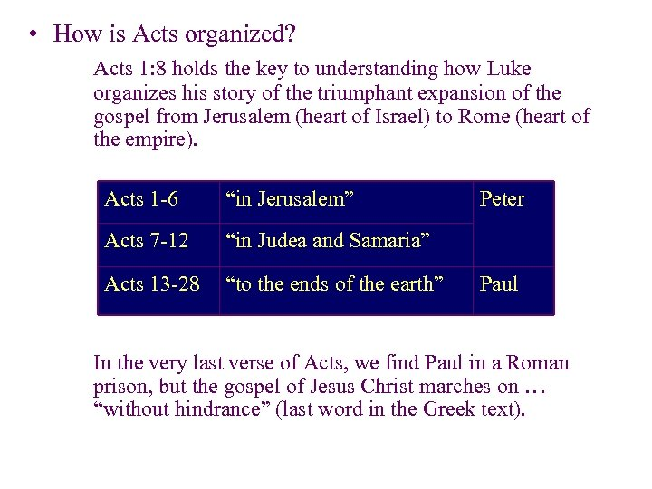 • How is Acts organized? Acts 1: 8 holds the key to understanding