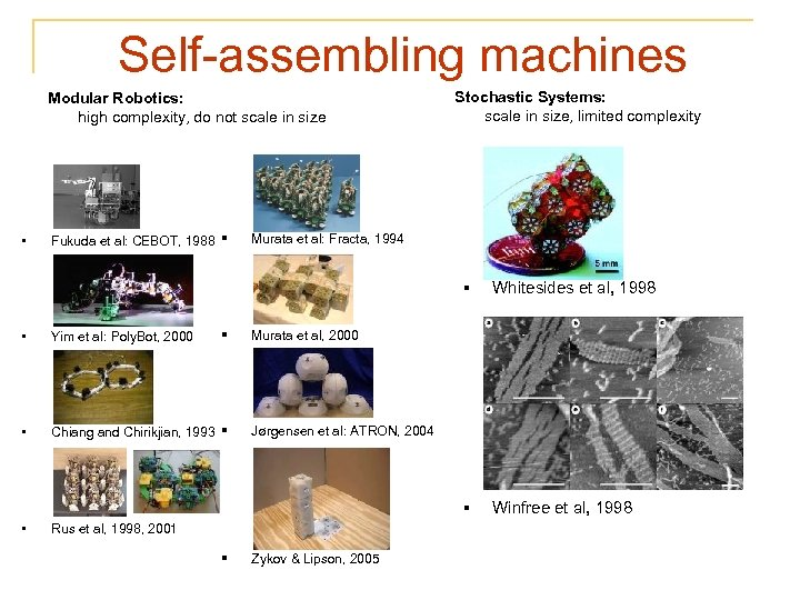 Self-assembling machines Modular Robotics: high complexity, do not scale in size • Fukuda et