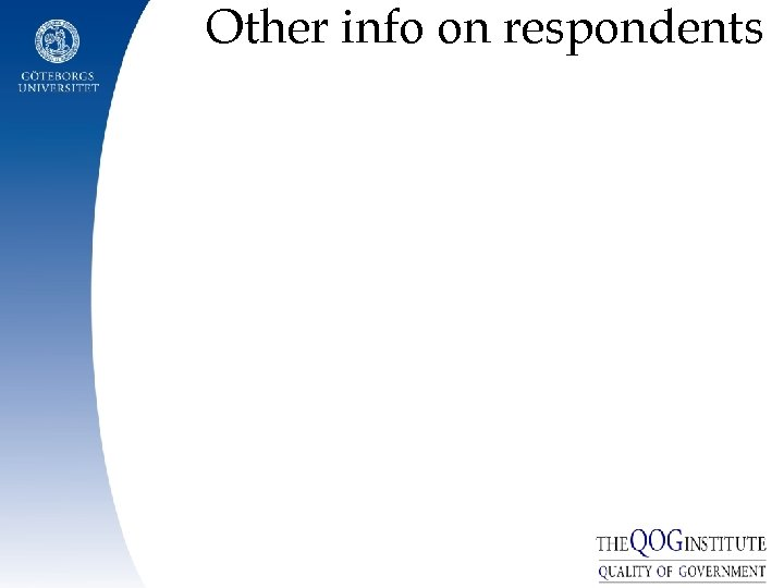 Other info on respondents