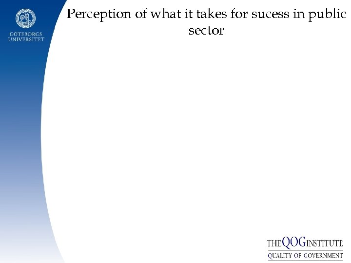 Perception of what it takes for sucess in public sector