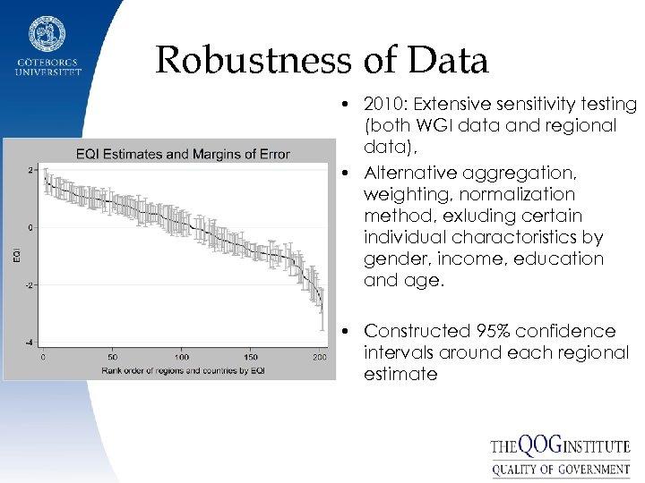 Robustness of Data • 2010: Extensive sensitivity testing (both WGI data and regional data),