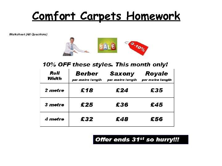 Comfort Carpets Homework Worksheet (All Questions) Worksheet 1