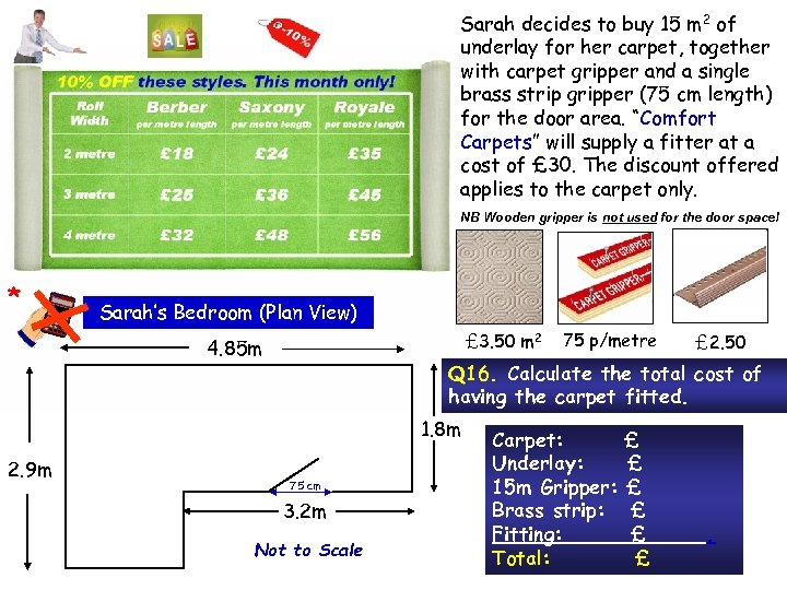 Sarah decides to buy 15 m 2 of underlay for her carpet, together with
