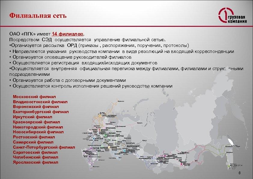 Филиальная сеть ОАО «ПГК» имеет 14 филиалов. Посредством СЭД осуществляется управление филиальной сетью. •