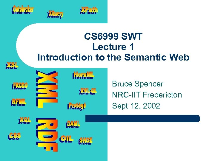 CS 6999 SWT Lecture 1 Introduction to the Semantic Web Bruce Spencer NRC-IIT Fredericton