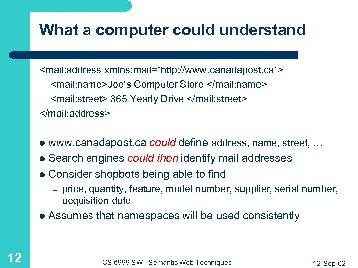 "What a computer could understand <mail: address xmlns: mail=""http: //www. canadapost. ca""> <mail: name>Joe's"