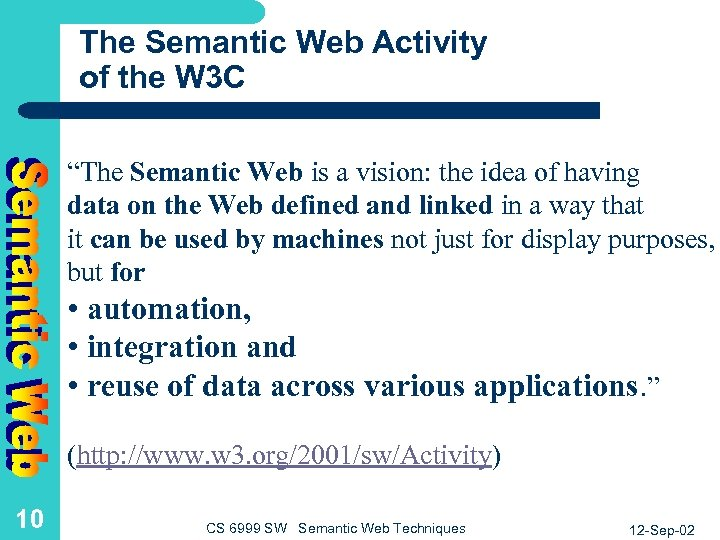 "The Semantic Web Activity of the W 3 C ""The Semantic Web is a"