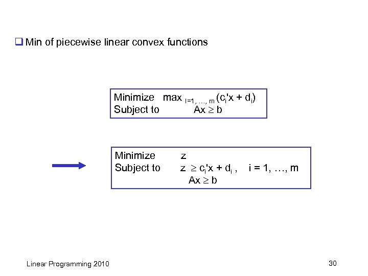 q Min of piecewise linear convex functions Minimize max I=1, …, m (ci'x +