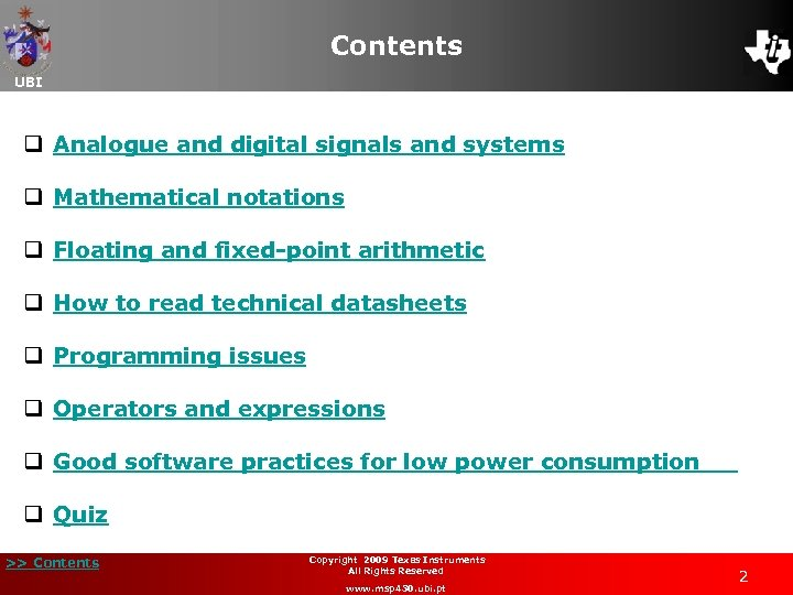 Contents UBI q Analogue and digital signals and systems q Mathematical notations q Floating