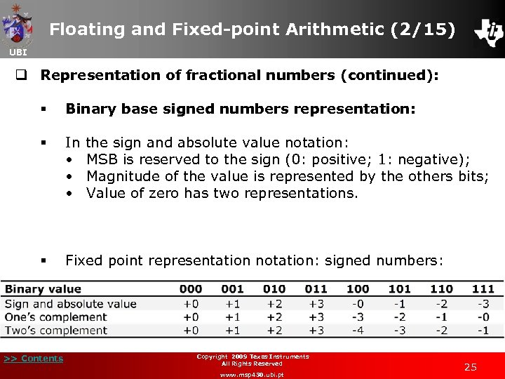 Floating and Fixed-point Arithmetic (2/15) UBI q Representation of fractional numbers (continued): § Binary