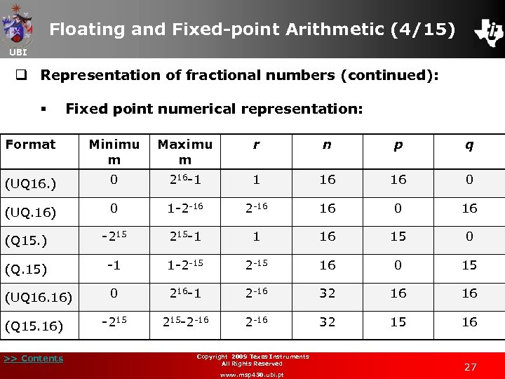 Floating and Fixed-point Arithmetic (4/15) UBI q Representation of fractional numbers (continued): § Fixed
