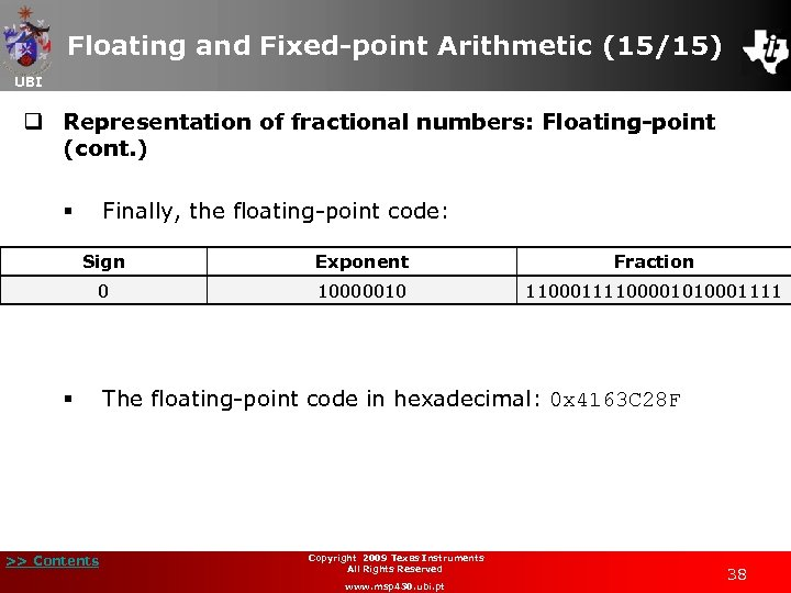 Floating and Fixed-point Arithmetic (15/15) UBI q Representation of fractional numbers: Floating-point (cont. )