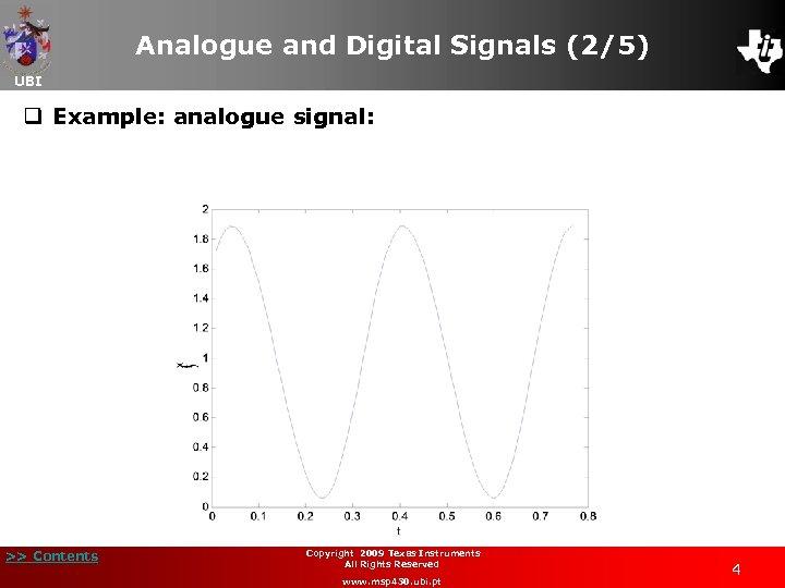 Analogue and Digital Signals (2/5) UBI q Example: analogue signal: >> Contents Copyright 2009