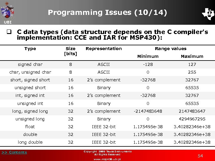Programming Issues (10/14) UBI q C data types (data structure depends on the C