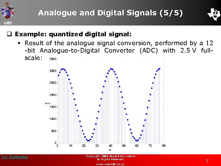 Analogue and Digital Signals (5/5) UBI q Example: quantized digital signal: § Result of