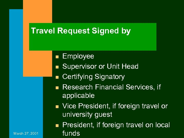 Travel Request Signed by n n n March 27, 2001 Employee Supervisor or Unit