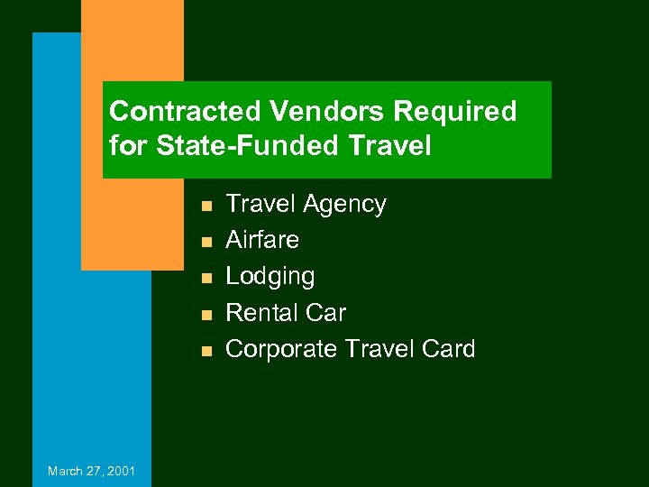 Contracted Vendors Required for State-Funded Travel n n n March 27, 2001 Travel Agency