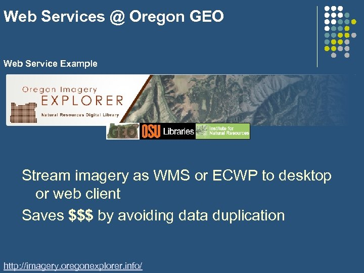 Web Services @ Oregon GEO Web Service Example Stream imagery as WMS or ECWP