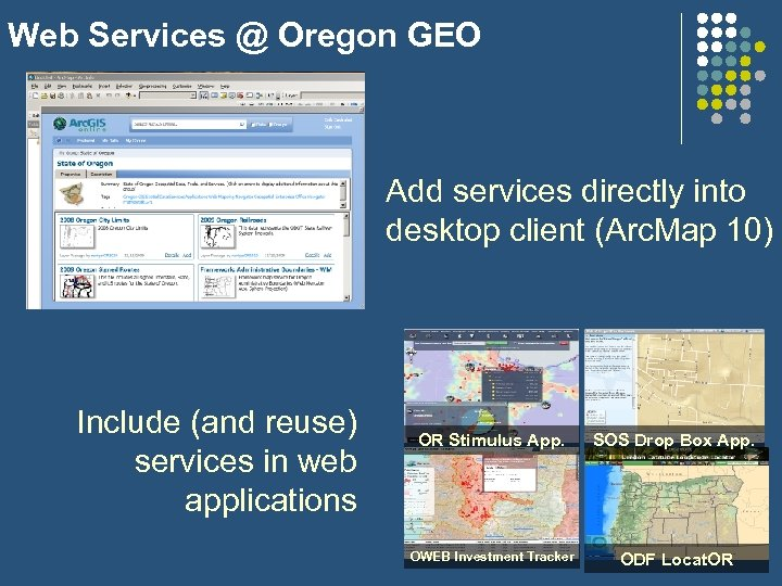 Web Services @ Oregon GEO Add services directly into desktop client (Arc. Map 10)