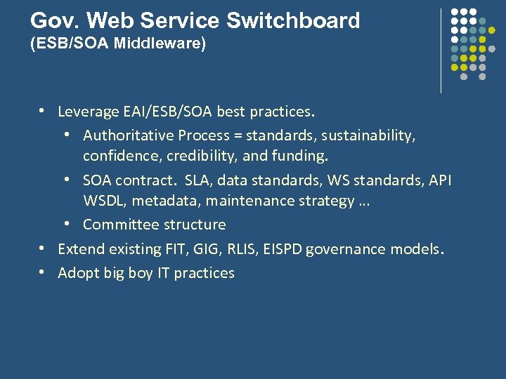 Gov. Web Service Switchboard (ESB/SOA Middleware) • Leverage EAI/ESB/SOA best practices. • Authoritative Process