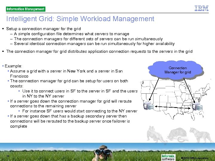 Intelligent Grid: Simple Workload Management Setup a connection manager for the grid – A