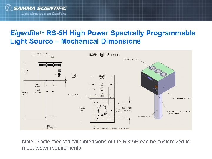 Eigenlite. TM RS-5 H High Power Spectrally Programmable Light Source – Mechanical Dimensions Note: