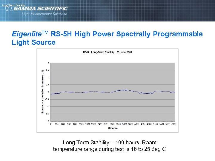 Long Term Stability Eigenlite. TM RS-5 H High Power Spectrally Programmable Light Source Long