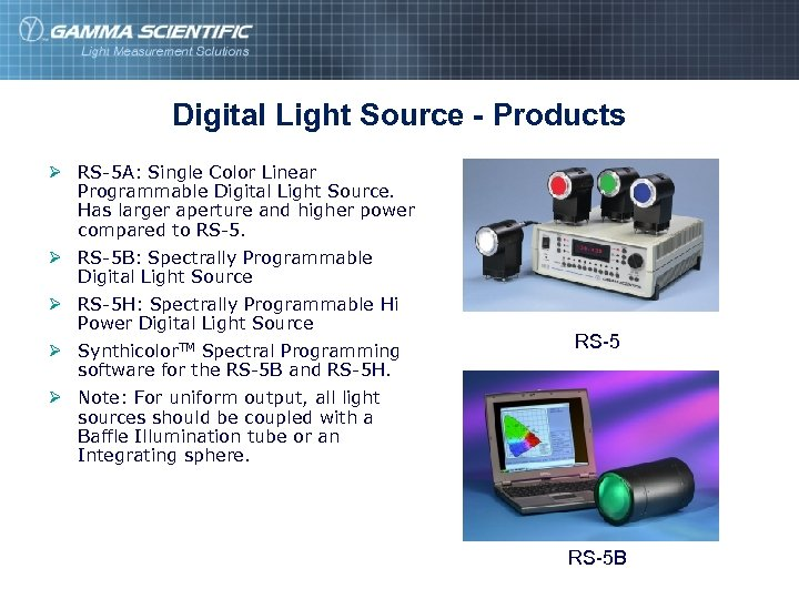 Digital Light Source - Products Ø RS-5 A: Single Color Linear Programmable Digital Light