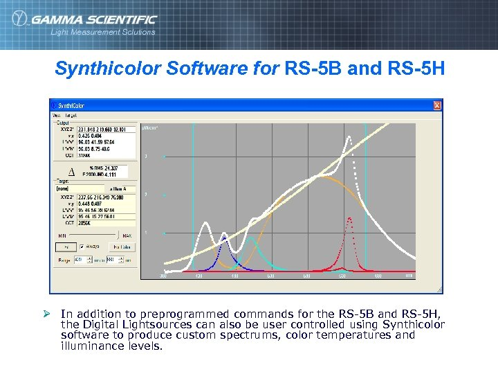 Synthicolor Software for RS-5 B and RS-5 H Ø In addition to preprogrammed commands