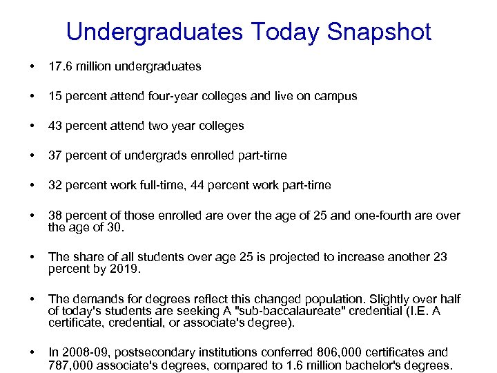 Undergraduates Today Snapshot • 17. 6 million undergraduates • 15 percent attend four-year colleges