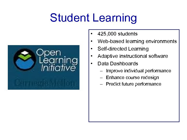 Student Learning • • • 425, 000 students Web-based learning environments Self-directed Learning Adaptive