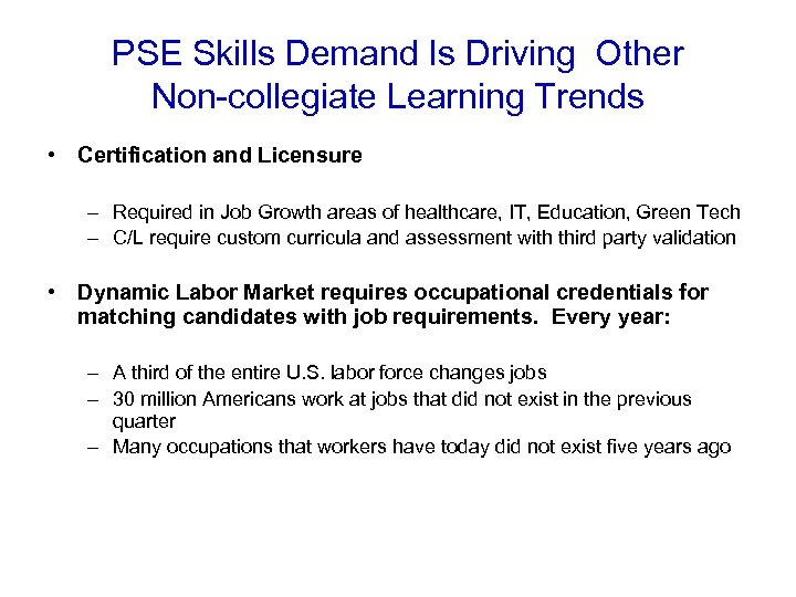 PSE Skills Demand Is Driving Other Non-collegiate Learning Trends • Certification and Licensure –