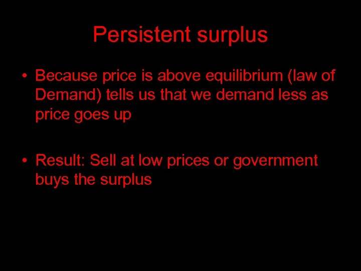 Persistent surplus • Because price is above equilibrium (law of Demand) tells us that
