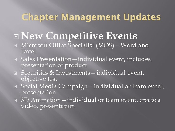 Chapter Management Updates New Competitive Events Microsoft Office Specialist (MOS)—Word and Excel Sales Presentation—individual