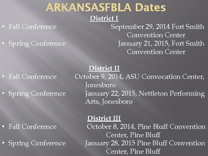 ARKANSASFBLA Dates • Fall Conference • Spring Conference District I September 29, 2014 Fort