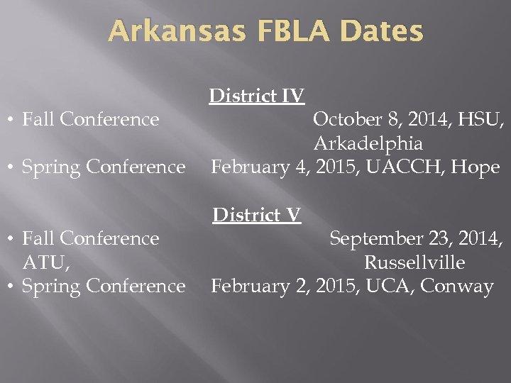Arkansas FBLA Dates • Fall Conference • Spring Conference • Fall Conference ATU, •