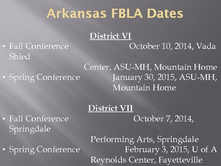 Arkansas FBLA Dates • Fall Conference Shied District VI October 10, 2014, Vada Center,