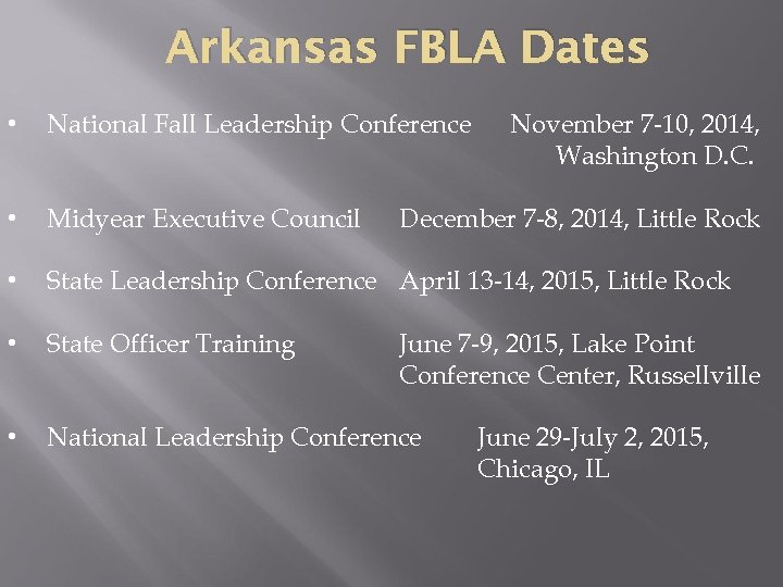 Arkansas FBLA Dates • National Fall Leadership Conference • Midyear Executive Council • State