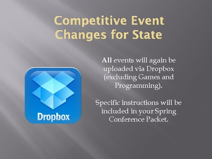 Competitive Event Changes for State All events will again be uploaded via Dropbox (excluding