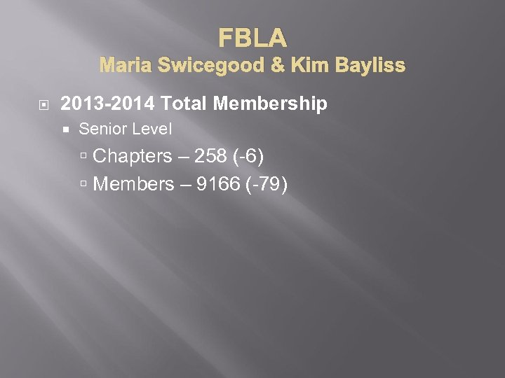 FBLA Maria Swicegood & Kim Bayliss 2013 -2014 Total Membership Senior Level Chapters –
