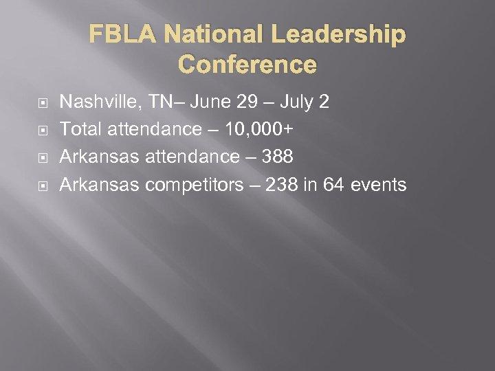 FBLA National Leadership Conference Nashville, TN– June 29 – July 2 Total attendance –
