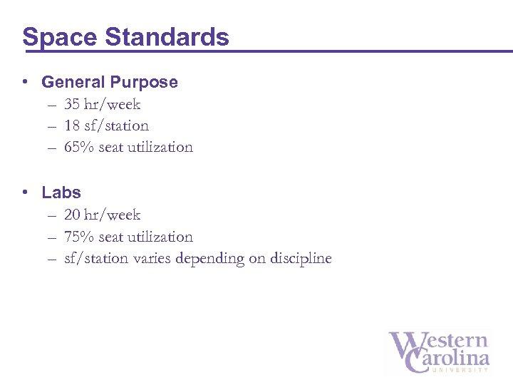 Space Standards • General Purpose – 35 hr/week – 18 sf/station – 65% seat