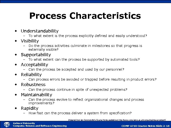Process Characteristics • Understandability – To what extent is the process explicitly defined and