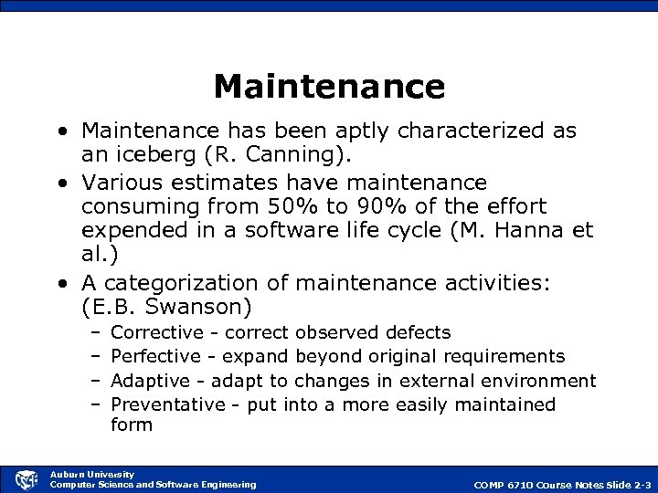 Maintenance • Maintenance has been aptly characterized as an iceberg (R. Canning). • Various