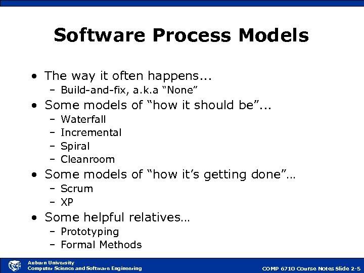 Software Process Models • The way it often happens. . . – Build-and-fix, a.