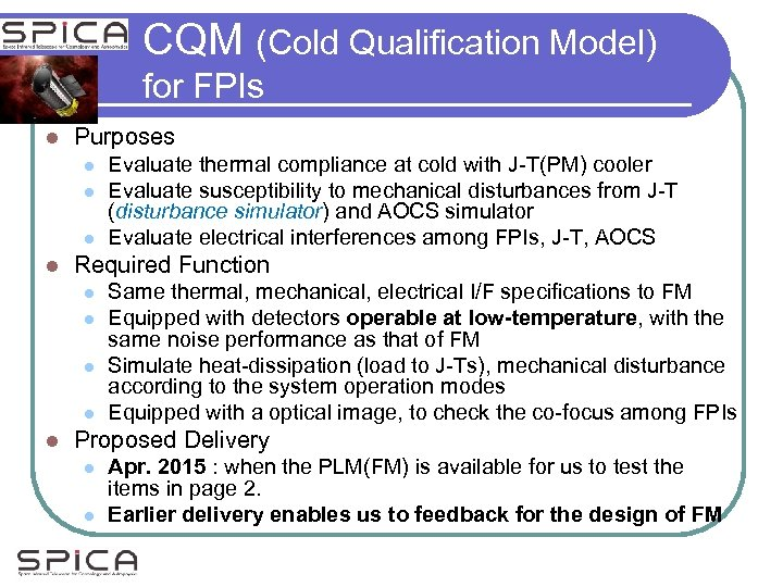 CQM (Cold Qualification Model) for FPIs l Purposes l l Required Function l l