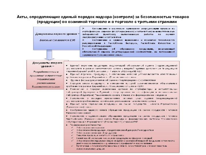 Акты, определяющие единый порядок надзора (контроля) за безопасностью товаров (продукции) во взаимной торговле и