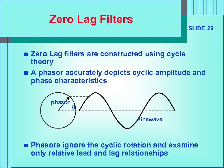 Zero Lag Filters n n SLIDE 28 Zero Lag filters are constructed using cycle