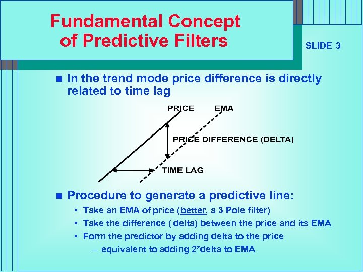 Fundamental Concept of Predictive Filters SLIDE 3 n In the trend mode price difference